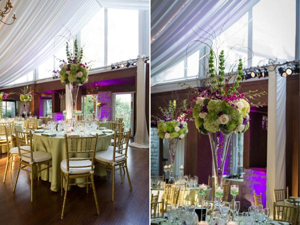 Trong tiệc có hai mẫu hoa khác nhau, một mẫu hoa cao, một mẫu hoa tròn.