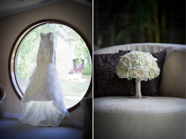 Váy cưới và hoa cưới kết hợp hài hòa.