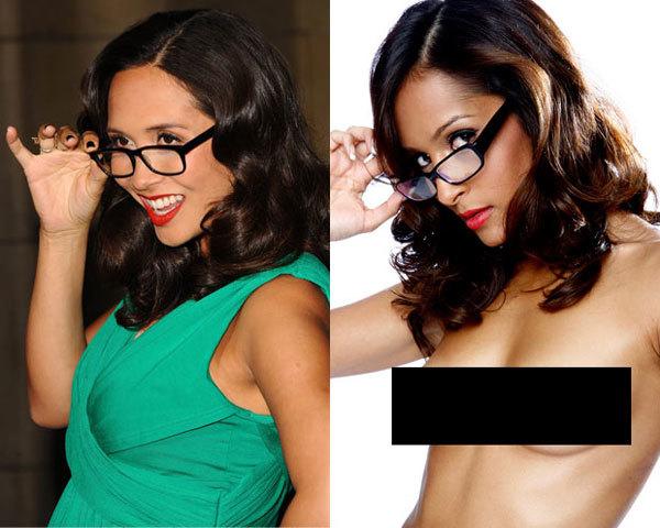 Nữ ca sĩ Myleene Klass (trái) và bản sao là một người mẫu chuyên chụp ảnh khỏa thân