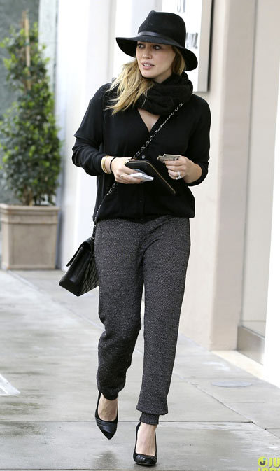 Hilary Duff did some shoe shopping while it was raining in Beverly Hills.