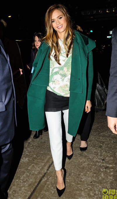 Jessica Alba rocks a green coat as she takes the town by storm on Monday (March 11) in New York City.