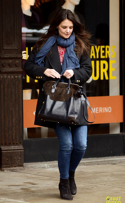 Katie Holmes battling the snow while taking a stroll in Tribeca.