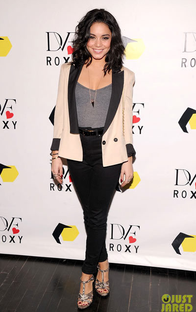 Vanessa Hudgens hits the red carpet at the DVF Loves Roxy Launch Eventon Wednesday (March 6) at the Roxy store in New York City. wearing DVF jacket and shoes, a Lips Mini clutch,