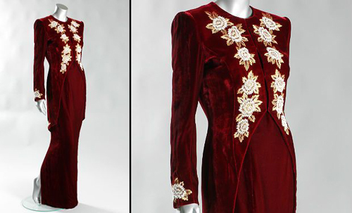 A Catherine Walker burgundy velvet sheath with embroidered tailcoat that Princess Diana wore during a state visit to South Korea in 1992.