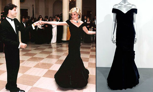 The ruched, off-the-shoulder, midnight blue velvet gown by designer Victor Edelstein that the Princess of Wales wore when she memorably danced with John Travolta at the White House in 1985 will be the centrepiece of the biggest auction of Diana's dresses. The gown, designed by Victor Edelstein, will be one of 10 going under the hammer and is expected to fetch between £200,000 and £300,000.