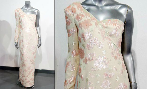 A Catherine Walker pink sequined ivory crepe gown worn by Britain's Princess Diana during a visit to Brazil in 1991. The gown is expected to sell for between 40,000 - 60,000 GBP (61,000 - 91,000 USD).