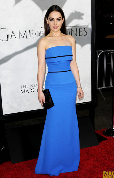 Emilia Clarke is smashing while attending the premiere party for the third season of her hit show Game of Thrones held at the TCL Chinese Theatre on Monday (March 18) in Hollywood. wearing a Victoria Beckham dress