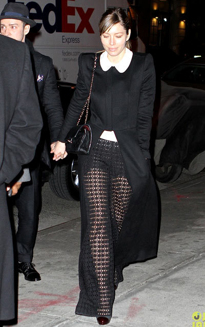 Jessica Biel rocks a pair of crochet knit pants as she and her husband Justin Timberlake leave Timbaland's birthday party at Southern Hospitality BBQ on Thursday (March 14) in New York City.
