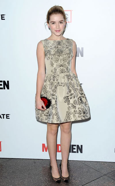Kiernan Shipka steps out for the season six premiere of AMCs Mad Man held at DGA Theater on Wednesday night (March 20) in Los Angeles. wore a Valentino dress.