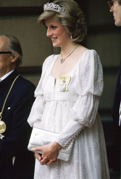 Princess Diana, Pregnant With Her Second Baby, Wearing A Maternity Dress With The Spencer Family Tiara, Royal Family Orders And A Diamond Necklace In The Shape Of The Prince Of Wales Feathers, For An Event At The Royal Academy