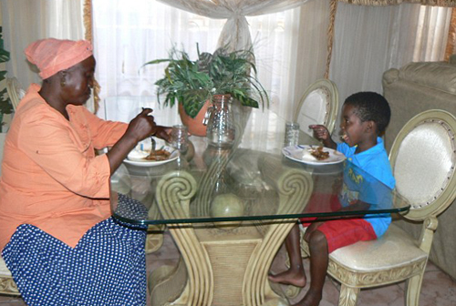 Sanele Masilela, 8, is enjoying dinner with his wife, following his marriage to her two weeks ago, and said he is now beginning to feel like a proper husband.