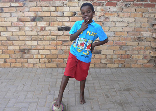 espite being a married man little Sanele loves to play football where he lives in Pretoria, South Africa.