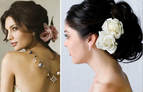 Cài hoa lên mái tóc cô dâu