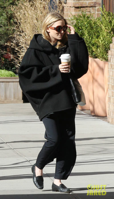 Mary-Kate Olsen was spotted carrying a cup of coffee while walking around the Tribeca neighborhood of New York City.