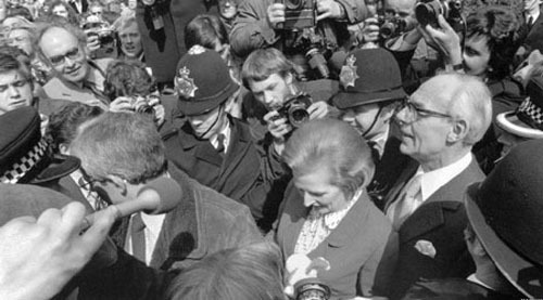 Mrs Thatcher entered Downing Street in 1979 as Britain's first female prime minister, promising that the Conservatives would cut income tax, reduce public expenditure, make it easier for people to buy their own homes and curb the power of the unions.