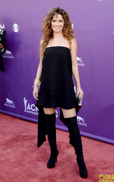 Shania Twain shows a little thigh as she hits the red carpet at the 2013 Academy of Country Music Awards held at the MGM Grand Garden Arena on Sunday (April 7) in Las Vegas, Nev. The 47-year-old singer