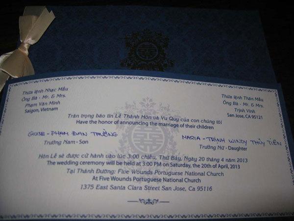 Thiệp cưới của Thủy Tiên - Đan Trường.