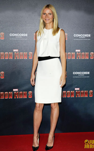 Gwyneth Paltrow arrive in style to the photo call for their film Iron Man 3 held at the Hotel Bayerischer Hof on Friday (April 12) in Munich, Germany.