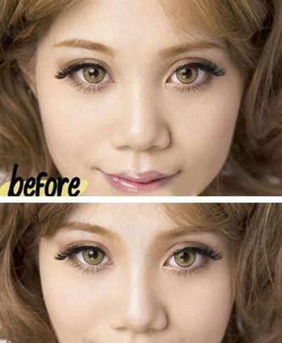 So sánh hiệu quả trước (ảnh trên) và sau (ảnh dưới) khi trang điểm để thấy sự khác biệt.
