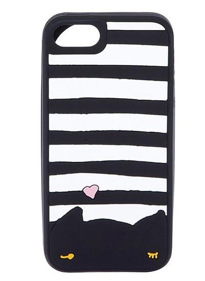 Case cho iPhone 4/4S chú mèo kẻ đen trắng ngộ nghĩnh. Thiết kế của Tsumori Chlsato có giá 67 USD.