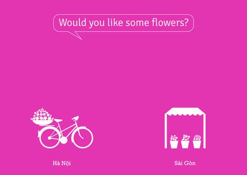 Nếu bạn muốn mua vài bông hoa? Ở Hà Nôi, bạn có thể dễ dàng mua hoa trên những chiếc xe bán rong, còn ở Sài Gòn thì bạn phải vào những sạp hoa, hay cửa hàng hoa.