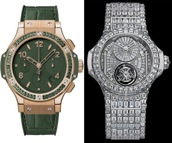 Đồng hồ Big Bang dành cho nữ của thương hiệu Hublot trị giá 5 triệu USD khoe vẻ đẹp sang trọng với toàn bộ phần mặt và dây đồng hồ gắn kim cương. Thương hiệu Hublot của Louis Vuitton từng nổi tiếng với dòng đồng hồ Big Bang dành cho nam sản xuất trước đó.