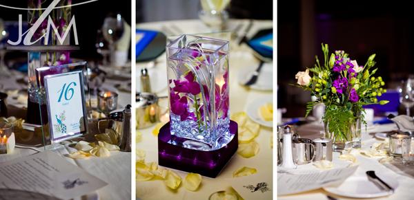 Hoa trên bàn tiệc là những cành lan tím ngập trong nước hay bình hoa đơn giản, tự nhiên.