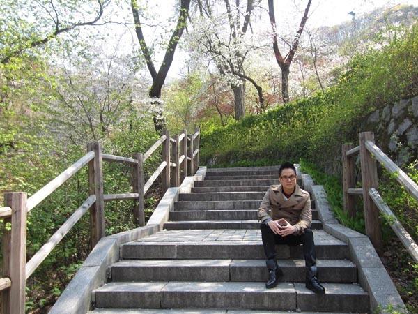 Đợt này, Nhật Tinh Anh sang Hàn Quốc đúng dịp hoa anh đào nở.