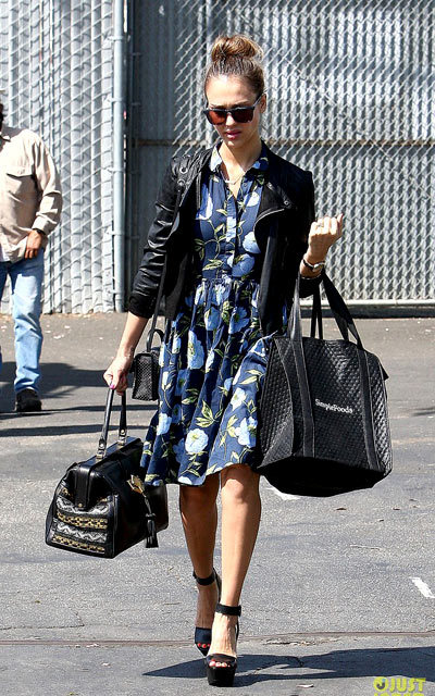 Jessica Alba shows her stripes while stepping into her Honest Company office on Friday (April 26) in Santa Monica, Calif.