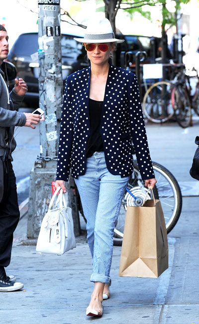 Diane Kruger rocks a chic polka dot blazer while exiting her hotel on Tuesday (May 7) in New York City.