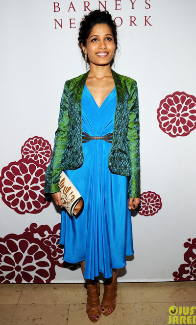 Freida Pinto is a beauty in blue while attending Barney's Private Dinner to celebrate the launch of the Maiyet Varanasi Silk Capsule Collection on Thursday (May 9) at the Consulate General of India in New York City.