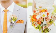 Hoa cài áo chú rể đồng điệu hoa cô dâu