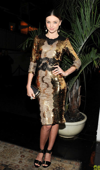 Miranda Kerr dons a flashy dress while attending W Magazine and Dom Perignons Pre-Golden Globes Party held at Chateau Marmont on Friday (January 11) in Los Angeles. wearing a Dolce&Gabbana dress,