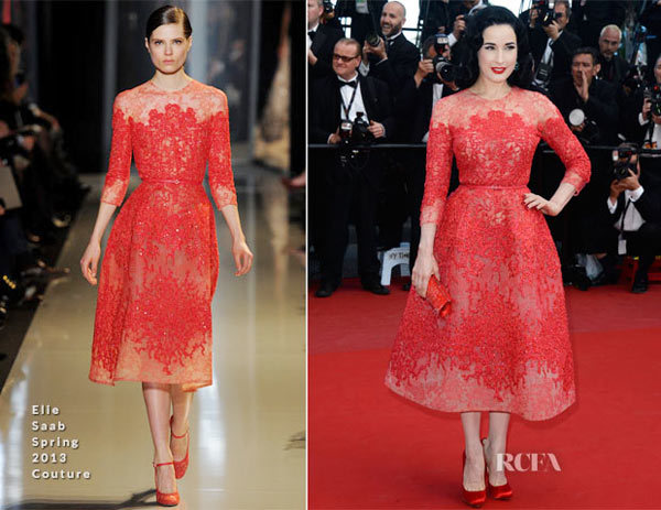 Dita von Teese In Elie Saab Couture Spring 2013  Cleopatra Cannes Film Festival Premiere.