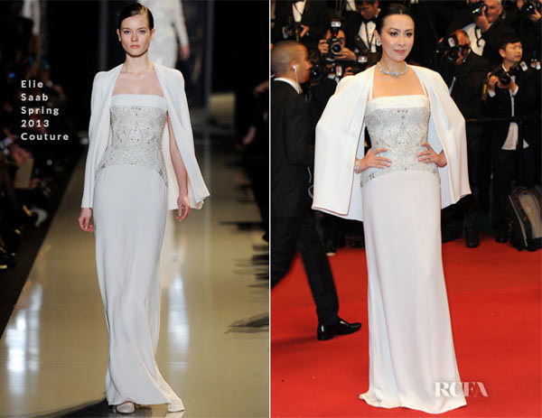 Carina Lau In Elie Saab Couture Spring 2013  Bends Cannes Film Festival Premiere.