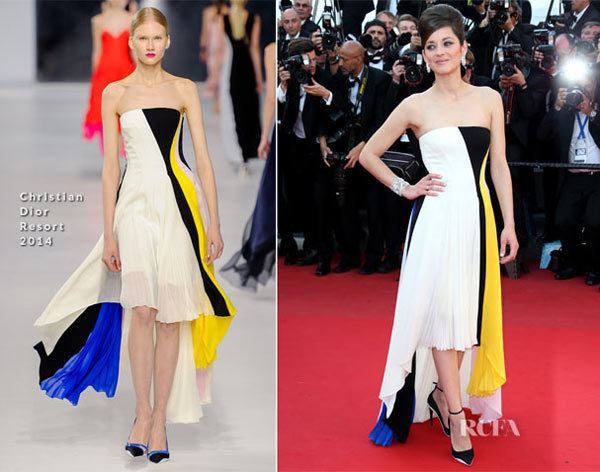 Marion Cotillard In Christian Dior  Blood Ties Cannes Film Festival Premiere. The Dior Resort 2014 presentation had just taken place on Saturday, and Marion is the second person to wear a look from this collection as Princess Charlene of Monaco was the first.