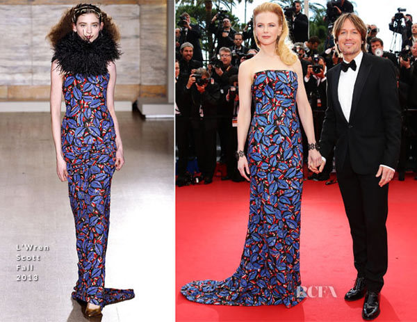 Nicole Kidman In LWren Scott  Inside Llewyn Davis Cannes Film Festival Premiere. I knew it wouldnt be long before we saw the Australian actress donned her favourite designer  LWren Scott  but I didnt for one second expect her to wear this blue, red and black leaf-print gown.