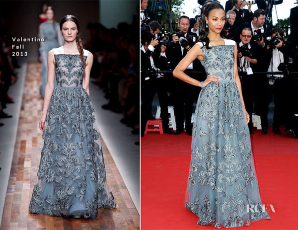 Zoe Saldana In Valentino Fall 2013  Blood Ties Cannes Film Festival Premiere.