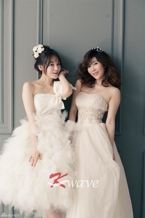 Váy cưới màu trắng sữa như của nhóm Davichi hợp với cô dâu có nước da bánh mật.