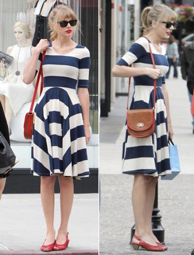 Taylor sở hữu một phong cách retro vô cùng tinh tế. Ngập tràn trong tủ quần áo của cô nàng là những bộ váy kẻ sọc, chấm bi, váy xòe, giày oxford và đôi môi đỏ chót luôn gắn liền với hình ảnh của Taylor. Mỗi khi bước đi trên phố nữ hoàng của dòng nhạc đồng quê luôn tạo ấn tượng với vẻ đẹp cổ điển vô cùng dễ thương.