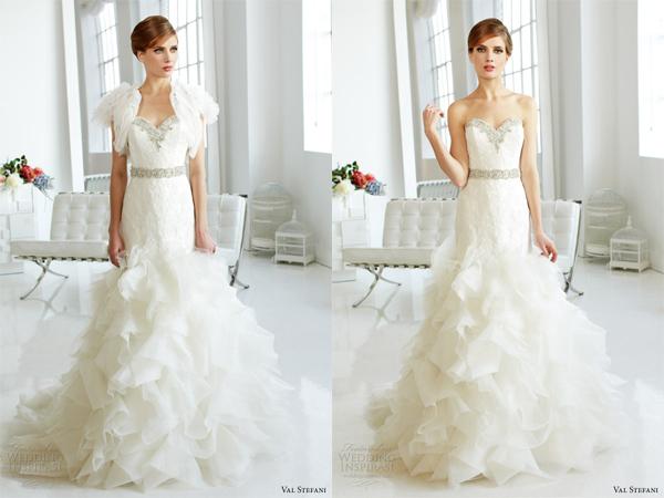 Bỏ chiếc áo khoác kết voan tay bồng, cô dâu vô cùng gợi cảm trong dáng váy cúp ngực.