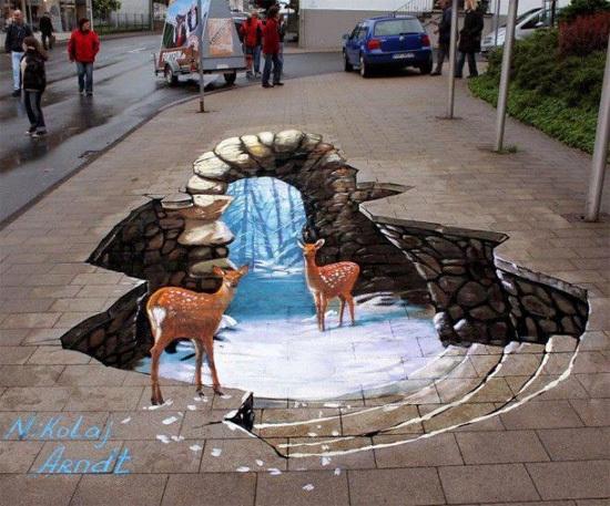 Nghệ thuật đường phố đã phát triển từ khá lâu và ngày càng biến hóa với những bức tranh vẽ 3D.