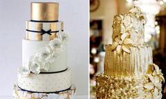 Bánh cưới với sắc màu ánh kim độc đáo