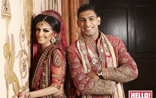 Chú rể Amir Khan và cô dâu Faryal Makhdoom trong trang phục đám cưới truyền thống của Pakistan.