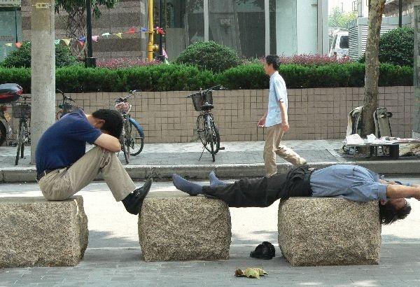 Tảng đá bên đường cũng có thể trở thành chiếc giường êm ái.