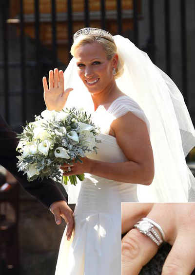Mike Tindall designed his own diamond engagement ring for bride Zara Phillips, which matched her simple but elegant platinum wedding band.