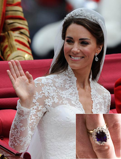 Pregnant Kate Middleton's simple wedding band is eclipsed by her stunning engagement ring. The distinctive 18-carat blue sapphire and diamond engagement ring belonged to Prince William's mother, Princess Diana, and is apparently worth £85,000.