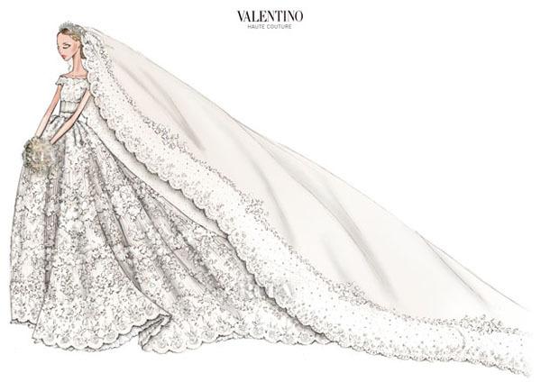 Hình vẽ mẫu váy cưới của công chúa Thụy Điển Madeleine.