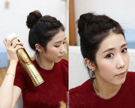 Bước 9: Sau khi búi tóc và làm phồng búi, bạn dùng gôm xịt xung quanh để các lọn tóc nhỏ không bị bung ra.