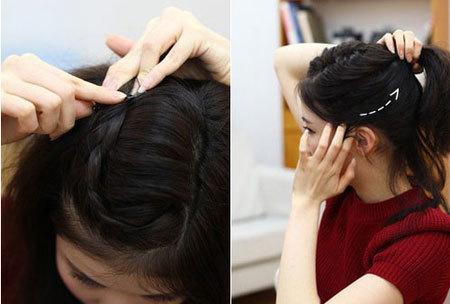 Bước 4: Dùng ghim, cố định đuôi lọn tóc tết lại. Kéo tóc hai bên mang tai lên phía đỉnh đầu.